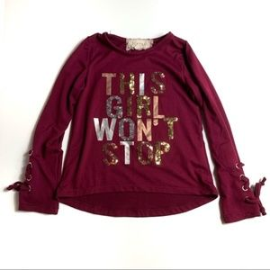 Btween 4T Long Sleeve Graphic Shirt Laced Sleeves